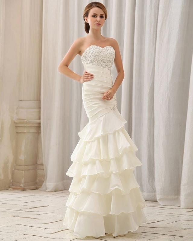 Albizia Floor Length Strapless Taffeta Mermaid Wedding Dresses
