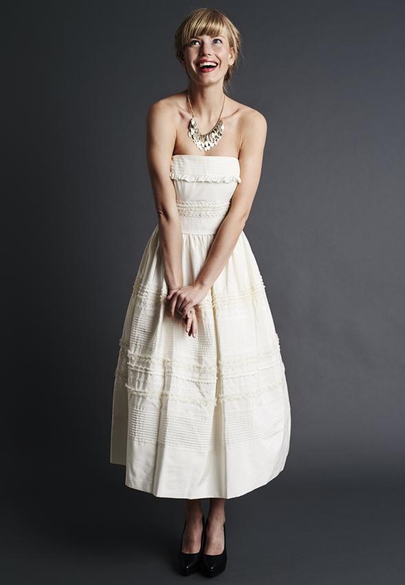 Informal short and long white wedding dresses lovetoknow tea length wedding dress junglespirit Image collections