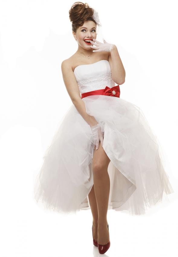 Informal short and long white wedding dresses lovetoknow tea length dress with red accent junglespirit Image collections