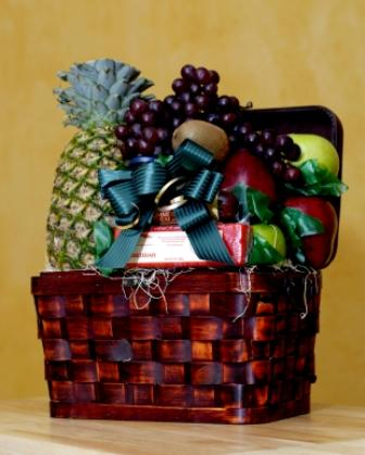 A Fruit Basket With Bow In Your Wedding Colors Is Lovely Gift