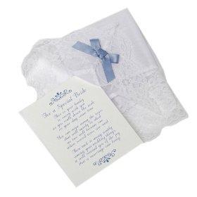 Bridal Handkerchief with Blue Ribbon