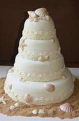 Tiered Seashell Wedding Cake