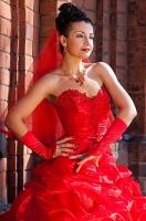 Daring red wedding gown