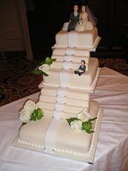 White wedding cake with stairs