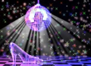 glass slipper on dance floor