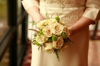 beige wedding dress