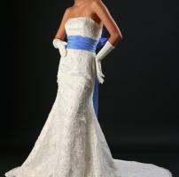wedding dress with colored sash