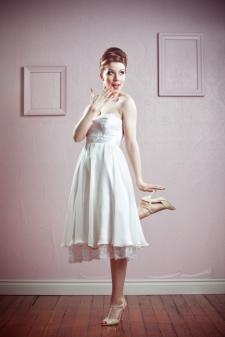 retro bride tea length dresses