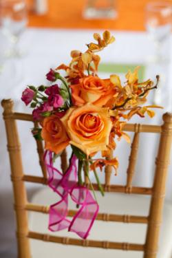 orange, pink, yellow chair decoration
