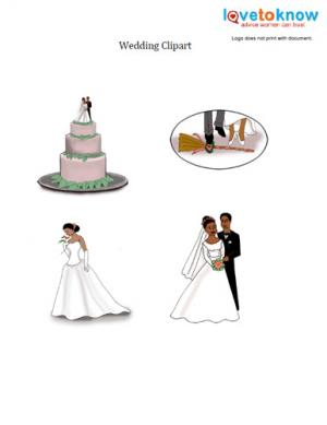 Download free African American bride and groom clipart images.