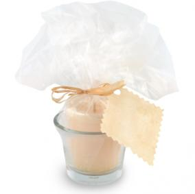 candle favor with tag