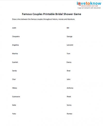 famous couples printable bridal shower game