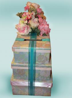 stack of presents wedding card box
