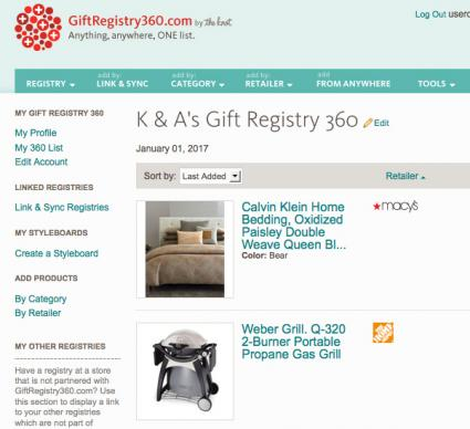 Popular wedding registries lovetoknow gift registry 360 sample registry screenshot junglespirit Images