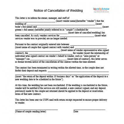 how to cancel a wedding cancellation policy template