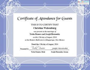 wedding guest certificate