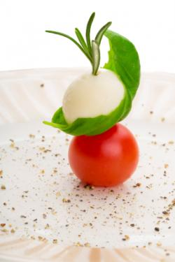 mozzarella ball with tomato