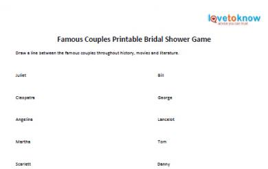 famous couples bridal shower game