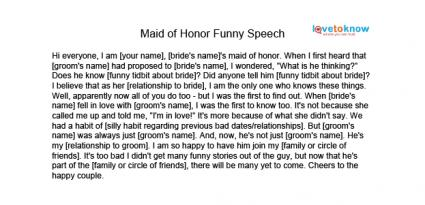 MAID OF HONOR SPEECH EXAMPLES - alisen berde