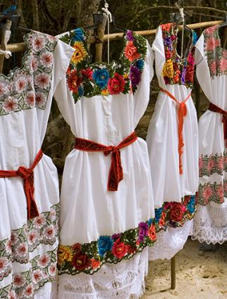 Mayan indigenous Mexican embroidered dresses