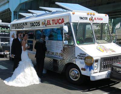 Bride at food truck