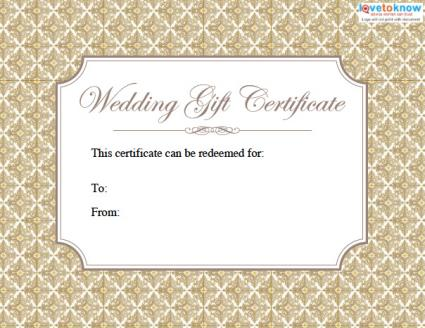 Printable Wedding Gift Certificates