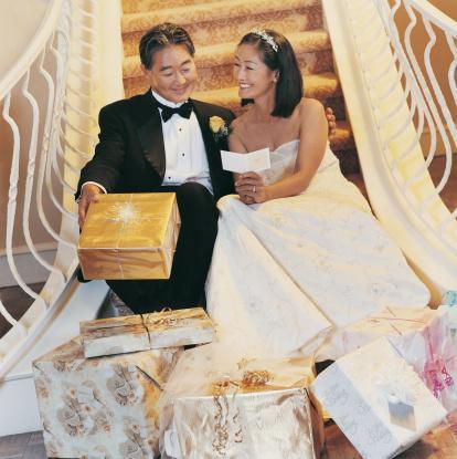 reading a wedding card