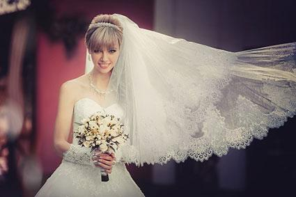 Bride with bouquet and veil