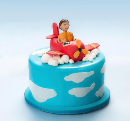 Cake with airplane and pilot