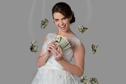 Bride with cash
