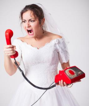 Mad bride screaming on phone