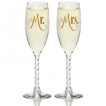 Mr. & Mrs. Gold Champagne Flutes