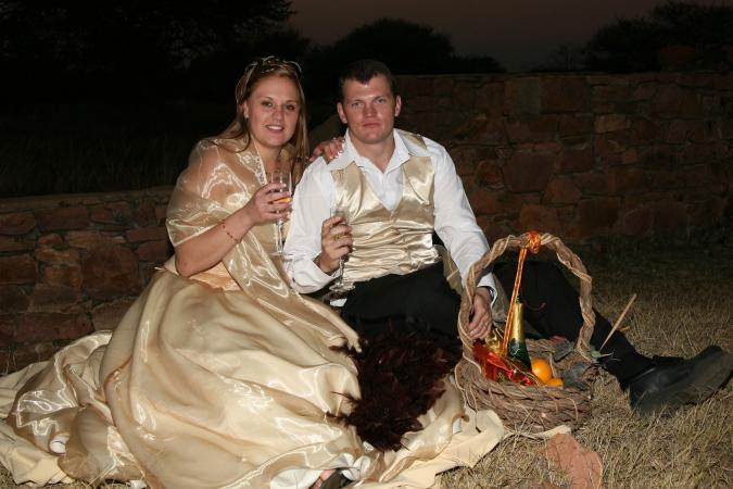 Wedding couple with gift basket