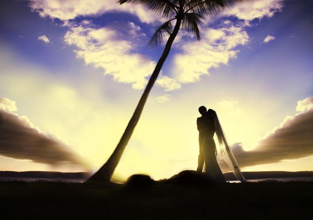 silhouetted couple