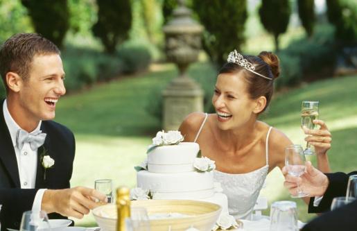 Bride and groom at a wedding reception