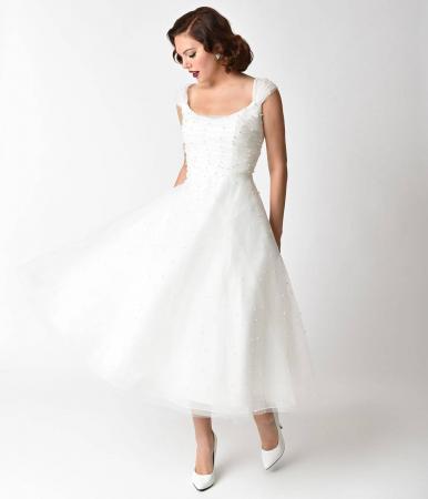 Voodoo Vixen 1950s White Pearl Beaded Cap Sleeve Betsy Bridal Dress