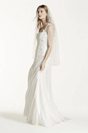 One Shoulder Wedding Dress with Floral Appliques Style V3398