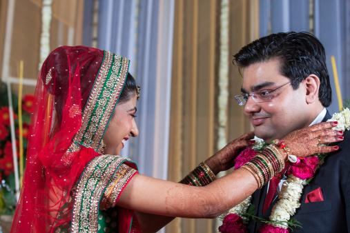 Couple during their wedding