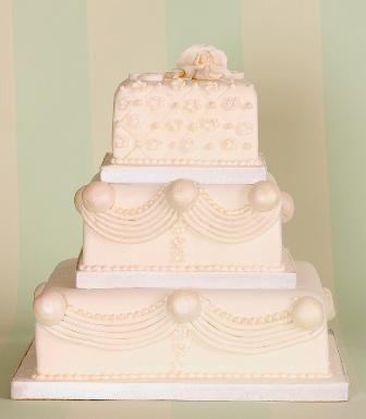 Pale Pink Square Wedding Cake