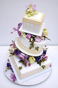 Tilted designer cake. Photo by Ron Ben-Israel