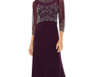 Jackie Jon- 3/4 Sleeve Beaded Evening Gown