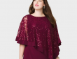 roz&ALI Plus Size Sequined Lace Poncho Dress