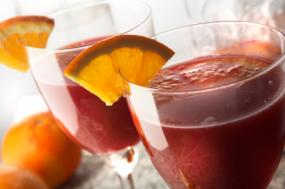 A frosty glass of sangria.