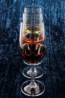 three wine glasses