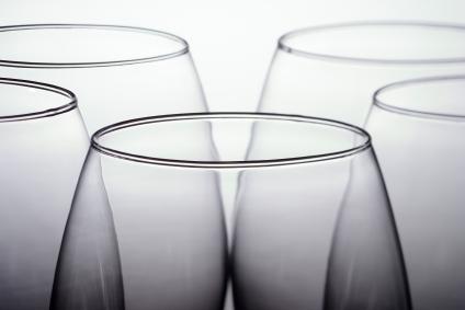 tops of wine glasses