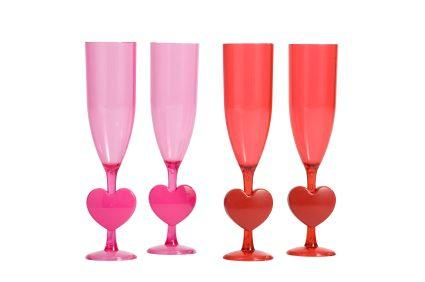 heart stems on plastic champagne flutes