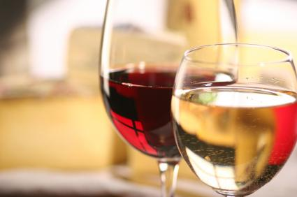 Glass of red wine and glass of white wine.