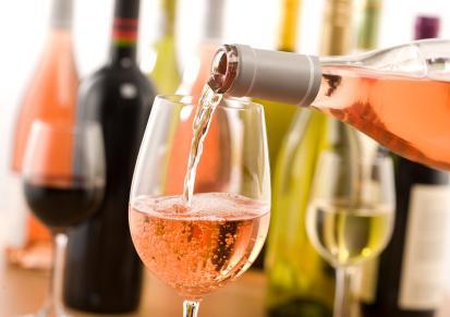 Glass of blush wine