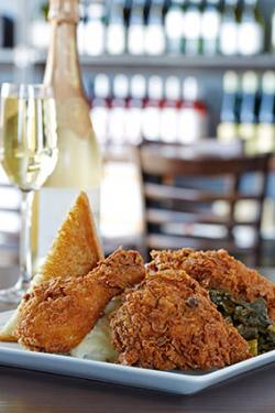Max's Wine Dive Southern fried chicken and champagne