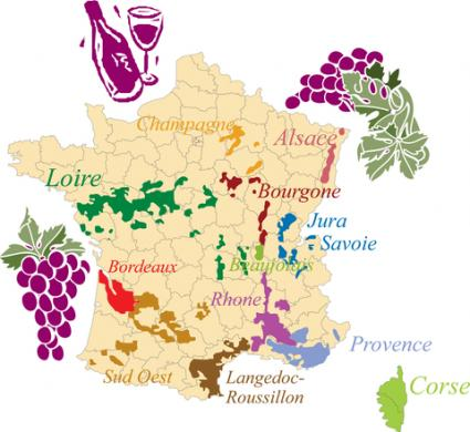 Map of French wine regions; © Martine Oger | Dreamstime.com